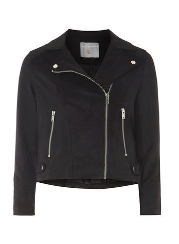Womens Petite Suedette Biker Jacket Black - pattern: plain; style: biker; collar: asymmetric biker; predominant colour: black; occasions: casual, creative work; fit: tailored/fitted; fibres: polyester/polyamide - stretch; sleeve length: long sleeve; sleeve style: standard; collar break: medium; pattern type: fabric; texture group: suede; length: cropped; season: s/s 2016; wardrobe: basic