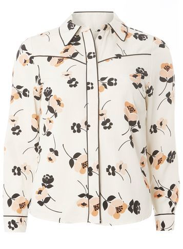 Womens Petite Floral Western Shirt Ivory - neckline: shirt collar/peter pan/zip with opening; style: shirt; predominant colour: white; secondary colour: black; occasions: casual; length: standard; fibres: polyester/polyamide - stretch; fit: body skimming; sleeve length: long sleeve; sleeve style: standard; pattern type: fabric; pattern size: standard; pattern: florals; texture group: other - light to midweight; multicoloured: multicoloured; season: s/s 2016; wardrobe: highlight
