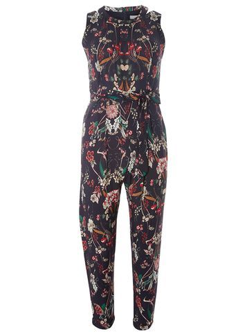 Womens Petite Navy Floral Jumpsuit Blue - length: standard; sleeve style: sleeveless; secondary colour: burgundy; predominant colour: navy; occasions: casual; fit: body skimming; fibres: viscose/rayon - 100%; neckline: crew; sleeve length: sleeveless; style: jumpsuit; pattern type: fabric; pattern: florals; texture group: other - light to midweight; multicoloured: multicoloured; season: s/s 2016; wardrobe: highlight