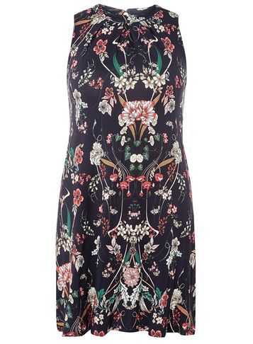 Womens Petite Floral Swing Dress Navy - style: trapeze; fit: loose; sleeve style: sleeveless; secondary colour: ivory/cream; predominant colour: navy; occasions: casual; length: just above the knee; fibres: viscose/rayon - stretch; neckline: crew; sleeve length: sleeveless; pattern type: fabric; pattern size: big & busy; pattern: florals; texture group: jersey - stretchy/drapey; multicoloured: multicoloured; season: s/s 2016; wardrobe: highlight