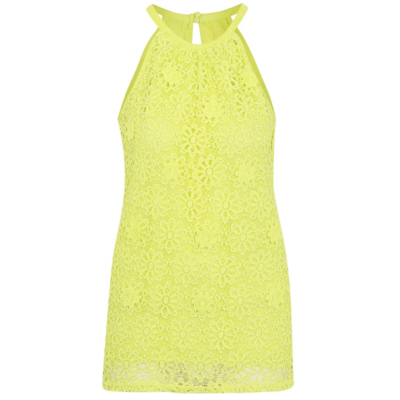 Floral Crochet Top Lime - pattern: plain; sleeve style: sleeveless; predominant colour: primrose yellow; occasions: casual; length: standard; style: top; fibres: polyester/polyamide - 100%; fit: body skimming; neckline: crew; sleeve length: sleeveless; texture group: knits/crochet; pattern type: knitted - fine stitch; season: s/s 2016; wardrobe: highlight