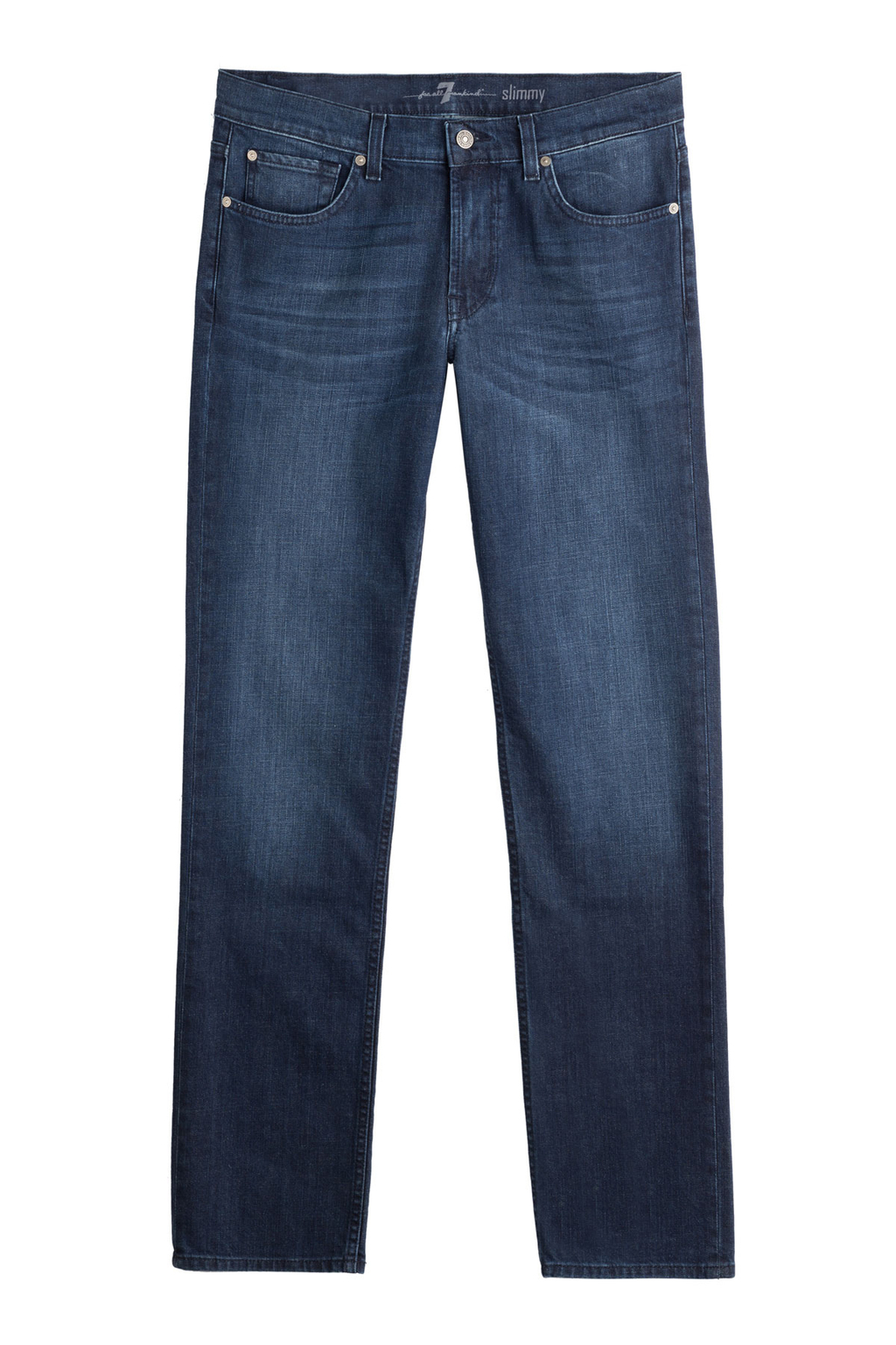 Straight Leg Jeans - style: straight leg; length: standard; pattern: plain; pocket detail: traditional 5 pocket; waist: mid/regular rise; predominant colour: navy; occasions: casual; fibres: cotton - stretch; jeans detail: shading down centre of thigh; texture group: denim; pattern type: fabric; season: s/s 2016; wardrobe: basic