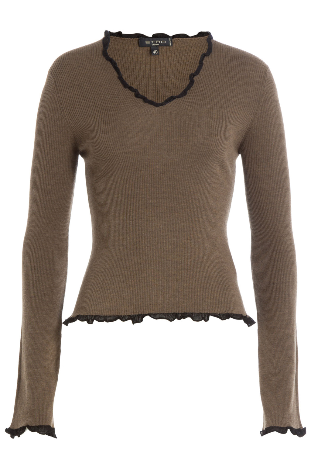 Wool Top With Ruffled Trim - neckline: v-neck; pattern: plain; predominant colour: mid grey; secondary colour: black; occasions: casual; length: standard; style: top; fibres: wool - 100%; fit: body skimming; sleeve length: long sleeve; sleeve style: standard; texture group: knits/crochet; pattern type: fabric; multicoloured: multicoloured; season: s/s 2016; wardrobe: basic