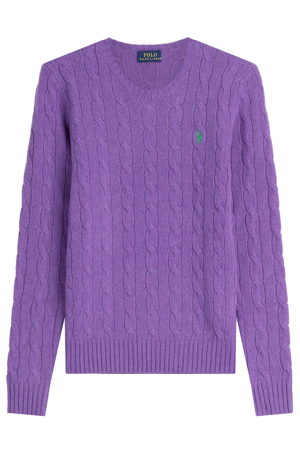 Merino Wool Cable Knit Pullover Purple - style: standard; pattern: cable knit; predominant colour: purple; occasions: casual; length: standard; fibres: wool - 100%; fit: slim fit; neckline: crew; sleeve length: long sleeve; sleeve style: standard; texture group: knits/crochet; pattern type: fabric; season: s/s 2016
