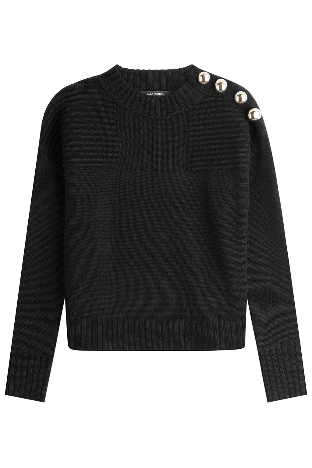 Wool Pullover With Metal Buttons - pattern: plain; style: standard; predominant colour: black; occasions: casual; length: standard; fibres: wool - 100%; fit: standard fit; neckline: crew; sleeve length: long sleeve; sleeve style: standard; texture group: knits/crochet; pattern type: knitted - fine stitch; season: s/s 2016; wardrobe: basic