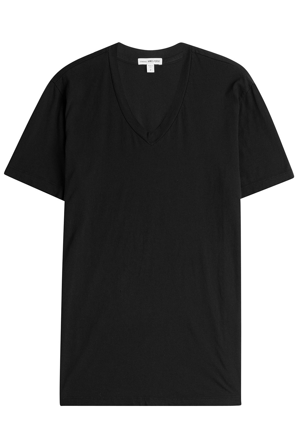 Cotton T Shirt - neckline: v-neck; pattern: plain; style: t-shirt; predominant colour: black; occasions: casual; length: standard; fibres: viscose/rayon - 100%; fit: body skimming; sleeve length: short sleeve; sleeve style: standard; pattern type: fabric; texture group: jersey - stretchy/drapey; season: s/s 2016; wardrobe: basic