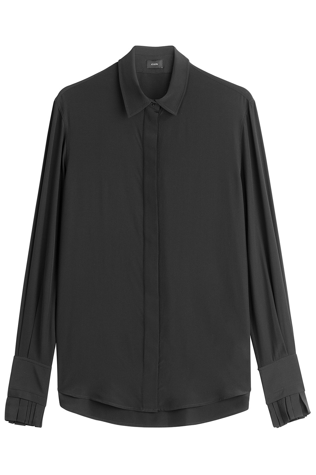 Silk Blouse - neckline: shirt collar/peter pan/zip with opening; pattern: plain; style: shirt; predominant colour: black; occasions: evening; length: standard; fibres: silk - 100%; fit: body skimming; sleeve length: long sleeve; sleeve style: standard; texture group: silky - light; pattern type: fabric; season: s/s 2016; wardrobe: event