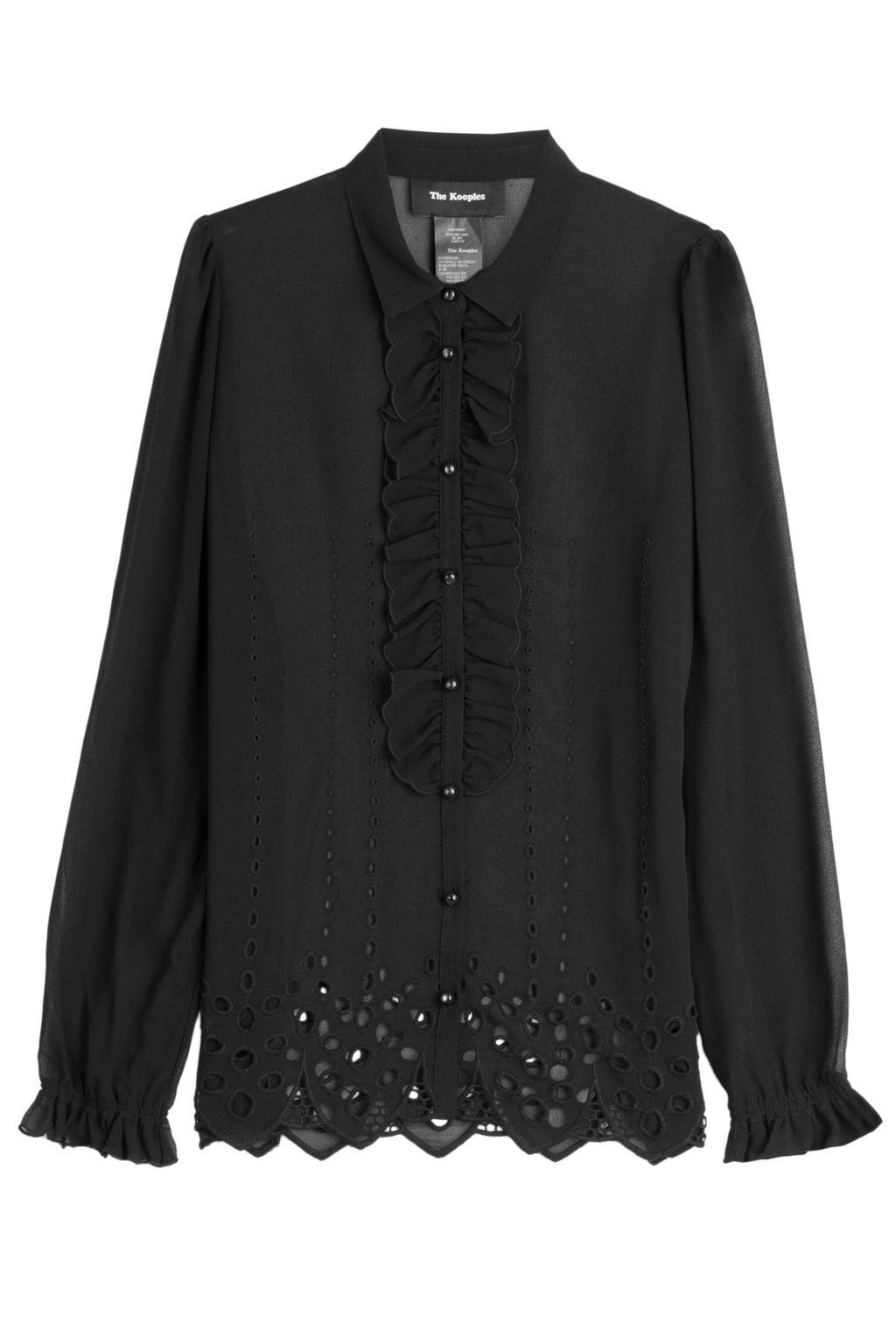 Blouse With Broderie Anglaise - neckline: shirt collar/peter pan/zip with opening; pattern: plain; style: shirt; predominant colour: black; occasions: casual; length: standard; fibres: polyester/polyamide - 100%; fit: body skimming; sleeve length: long sleeve; sleeve style: standard; texture group: sheer fabrics/chiffon/organza etc.; pattern type: fabric; season: s/s 2016; wardrobe: basic