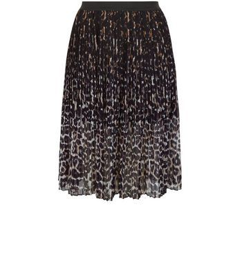 Curves Black Animal Print Pleated Midi Skirt - fit: body skimming; style: pleated; waist: mid/regular rise; secondary colour: light grey; predominant colour: black; occasions: evening; length: on the knee; fibres: polyester/polyamide - 100%; texture group: sheer fabrics/chiffon/organza etc.; pattern type: fabric; pattern: animal print; multicoloured: multicoloured; season: s/s 2016; wardrobe: event