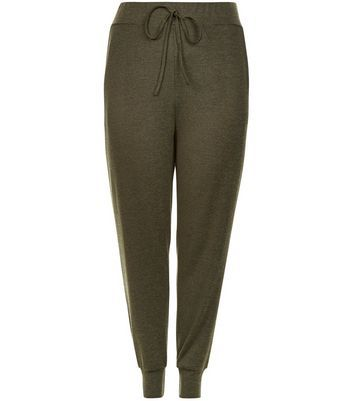 Curves Khaki Fine Knit Joggers - length: standard; pattern: plain; waist detail: belted waist/tie at waist/drawstring; waist: mid/regular rise; predominant colour: khaki; occasions: casual; fibres: polyester/polyamide - stretch; fit: baggy; pattern type: fabric; texture group: jersey - stretchy/drapey; style: standard; season: s/s 2016; wardrobe: basic