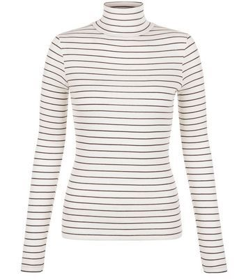 White Stripe Turtle Neck Long Sleeve Top - pattern: horizontal stripes; neckline: roll neck; predominant colour: white; secondary colour: black; occasions: casual; length: standard; style: top; fibres: cotton - mix; fit: body skimming; sleeve length: long sleeve; sleeve style: standard; pattern type: fabric; texture group: jersey - stretchy/drapey; multicoloured: multicoloured; season: s/s 2016; wardrobe: basic