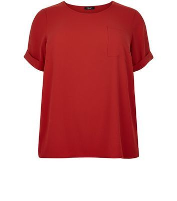 Curves Red Roll Sleeve Boxy T Shirt - pattern: plain; style: t-shirt; predominant colour: true red; occasions: casual; length: standard; fibres: polyester/polyamide - 100%; fit: body skimming; neckline: crew; sleeve length: short sleeve; sleeve style: standard; texture group: crepes; pattern type: fabric; season: s/s 2016; wardrobe: highlight