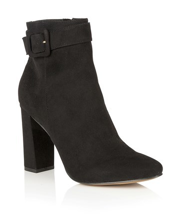 Buckle Block Heel Ankle Boot - predominant colour: black; occasions: casual; material: suede; heel height: high; embellishment: buckles; heel: block; toe: pointed toe; boot length: ankle boot; style: standard; finish: plain; pattern: plain; season: s/s 2016; wardrobe: highlight