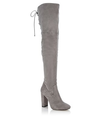 Over The Knee Heeled Boots - predominant colour: light grey; occasions: casual; material: suede; heel height: high; heel: block; toe: round toe; boot length: over the knee; style: standard; finish: plain; pattern: plain; season: s/s 2016; wardrobe: investment