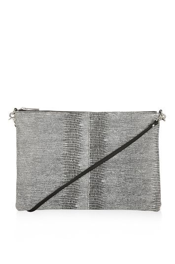 Leather Snake Zip Top Clutch - predominant colour: mid grey; occasions: evening, occasion; type of pattern: standard; style: clutch; length: hand carry; size: small; material: faux leather; pattern: animal print; finish: plain; season: s/s 2016; wardrobe: event