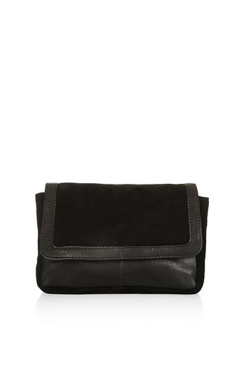 Leather Suede Bumbag - predominant colour: black; occasions: evening, occasion; type of pattern: standard; style: clutch; length: hand carry; size: standard; material: leather; pattern: plain; finish: plain; season: s/s 2016; wardrobe: event