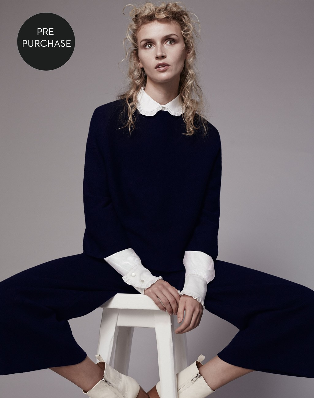 The Milano Crop Knit Navy - pattern: plain; length: cropped; style: standard; predominant colour: black; occasions: casual; fibres: wool - 100%; fit: standard fit; neckline: crew; sleeve length: long sleeve; sleeve style: standard; texture group: knits/crochet; pattern type: knitted - fine stitch; wardrobe: basic; season: a/w 2016