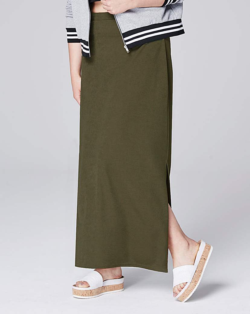 Doule Split Crepe Maxi Tube Skirt - pattern: plain; length: ankle length; fit: body skimming; hip detail: draws attention to hips; waist: mid/regular rise; predominant colour: khaki; occasions: casual; style: maxi skirt; fibres: polyester/polyamide - stretch; texture group: crepes; pattern type: fabric; wardrobe: basic; season: a/w 2016