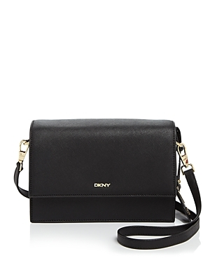 Saffiano Flap Shoulder Bag - predominant colour: black; occasions: casual, work, creative work; type of pattern: standard; style: shoulder; length: shoulder (tucks under arm); size: standard; material: leather; pattern: plain; finish: plain; wardrobe: investment; season: a/w 2016