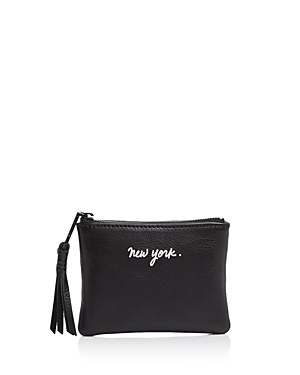New York Betty Pouch - predominant colour: black; occasions: casual; type of pattern: standard; style: clutch; length: hand carry; size: small; material: leather; pattern: monogram; finish: plain; season: a/w 2016; wardrobe: highlight