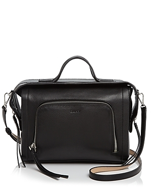 Crosby Ego Square Top Handle Satchel - predominant colour: black; occasions: casual, work, creative work; type of pattern: standard; style: satchel; length: handle; size: oversized; material: leather; pattern: plain; finish: plain; season: a/w 2016