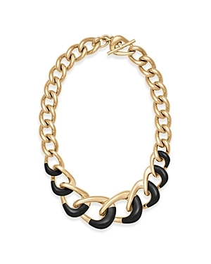 Graduated Chain Necklace - predominant colour: gold; secondary colour: black; occasions: casual, creative work; length: mid; size: large/oversized; material: chain/metal; finish: metallic; style: chain (no pendant); season: a/w 2016; wardrobe: highlight