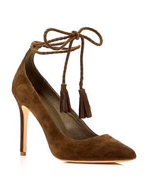 Angelynn Ankle Tie Pointed Toe Pumps - predominant colour: chocolate brown; occasions: evening, occasion, creative work; material: suede; embellishment: tassels; ankle detail: ankle tie; heel: stiletto; toe: pointed toe; style: courts; finish: plain; pattern: plain; heel height: very high; season: a/w 2016; wardrobe: highlight