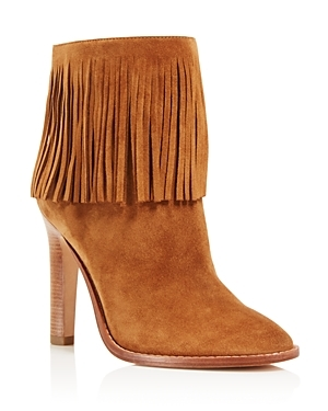 Cambrie High Heel Booties 100% Bloomingdale's Exclusive - predominant colour: tan; occasions: casual, creative work; material: suede; heel height: high; heel: stiletto; toe: round toe; boot length: ankle boot; style: standard; finish: plain; pattern: plain; embellishment: fringing; season: a/w 2016; wardrobe: highlight