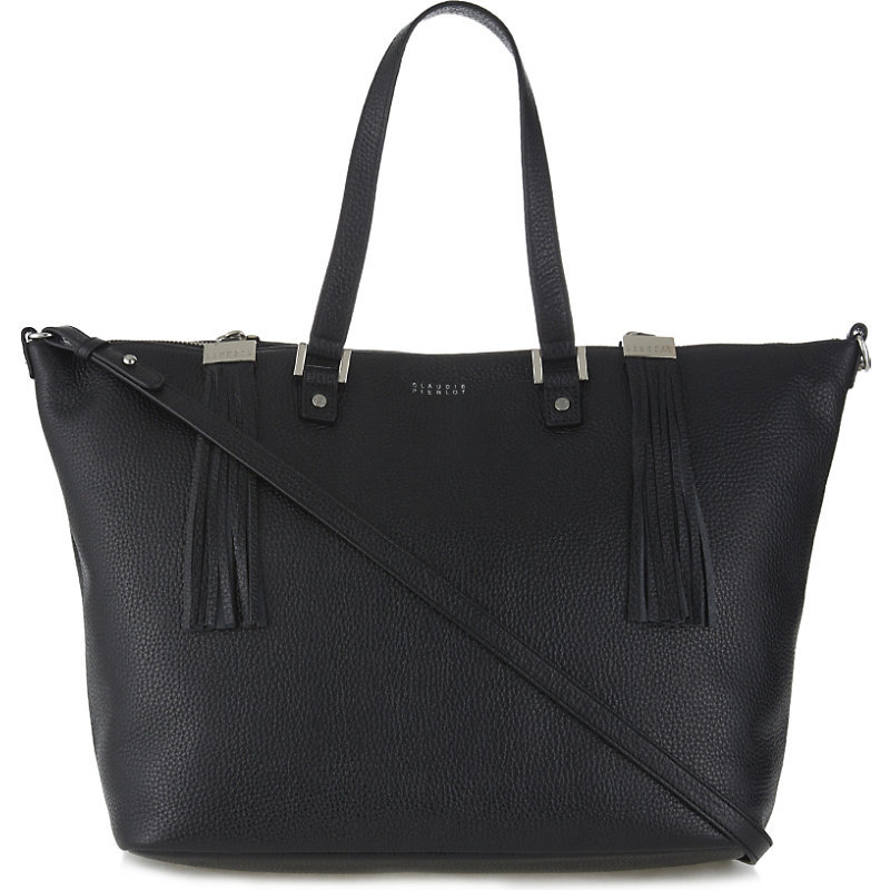 Anais Grained Leather Tote, Women's, Noir - predominant colour: black; occasions: casual, work, creative work; type of pattern: standard; style: tote; length: handle; size: oversized; material: leather; pattern: plain; finish: plain; wardrobe: investment; season: a/w 2016