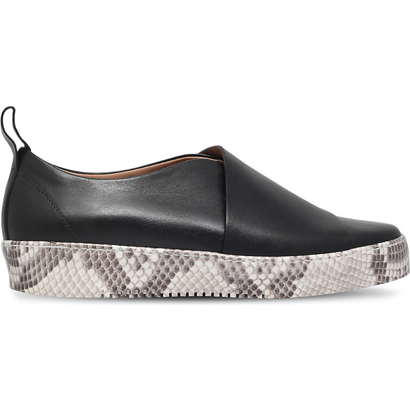 Ugee Leather Platforms, Women's, Eur 40 / 7 Uk Women, Black - predominant colour: black; occasions: casual, creative work; material: leather; heel height: flat; toe: round toe; style: flatforms; finish: plain; pattern: animal print; shoe detail: platform; season: a/w 2016
