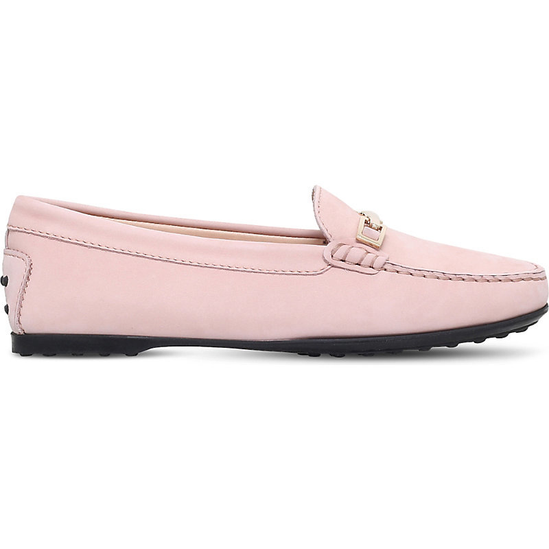 Gomma Clamp Suede Driving Shoes, Women's, Eur 38 / 5 Uk Women, Pale Pink - predominant colour: pink; occasions: casual, creative work; material: suede; heel height: flat; embellishment: snaffles; toe: round toe; style: loafers; finish: plain; pattern: plain; shoe detail: tread; season: a/w 2016; wardrobe: highlight