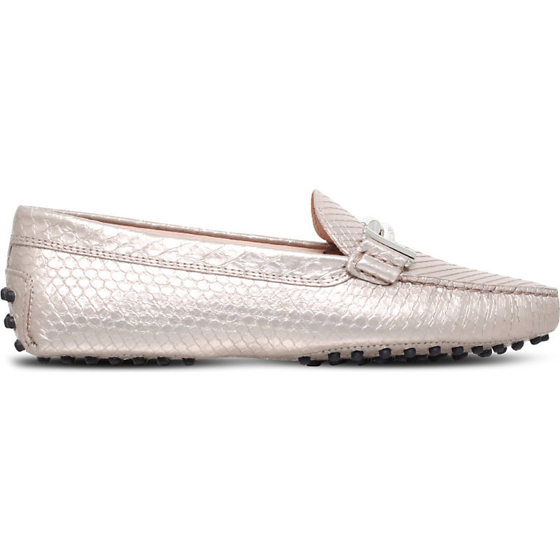 Gommini Python Embossed Leather Driving Shoes, Women's, Eur 38 / 5 Uk Women, Gold - predominant colour: silver; occasions: casual, creative work; material: leather; heel height: flat; toe: round toe; style: loafers; finish: metallic; pattern: plain; wardrobe: basic; season: a/w 2016