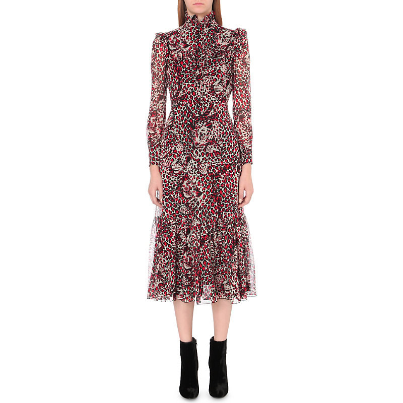 Leopard Print Ruflled Silk Georgette Midi Dress, Women's, Shell Rouge Noir - style: shift; length: calf length; neckline: high neck; predominant colour: true red; secondary colour: black; occasions: evening, occasion, creative work; fit: body skimming; fibres: silk - 100%; sleeve length: long sleeve; sleeve style: standard; texture group: sheer fabrics/chiffon/organza etc.; pattern type: fabric; pattern size: standard; pattern: animal print; multicoloured: multicoloured; season: a/w 2016; wardrobe: highlight