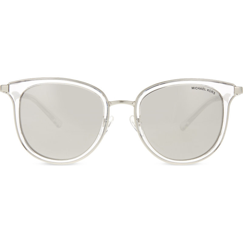 Mk1010 Adrianna I Round Frame Sunglasses, Women's, White - predominant colour: white; occasions: casual, holiday; style: round; size: standard; material: plastic/rubber; pattern: plain; finish: plain; season: a/w 2016