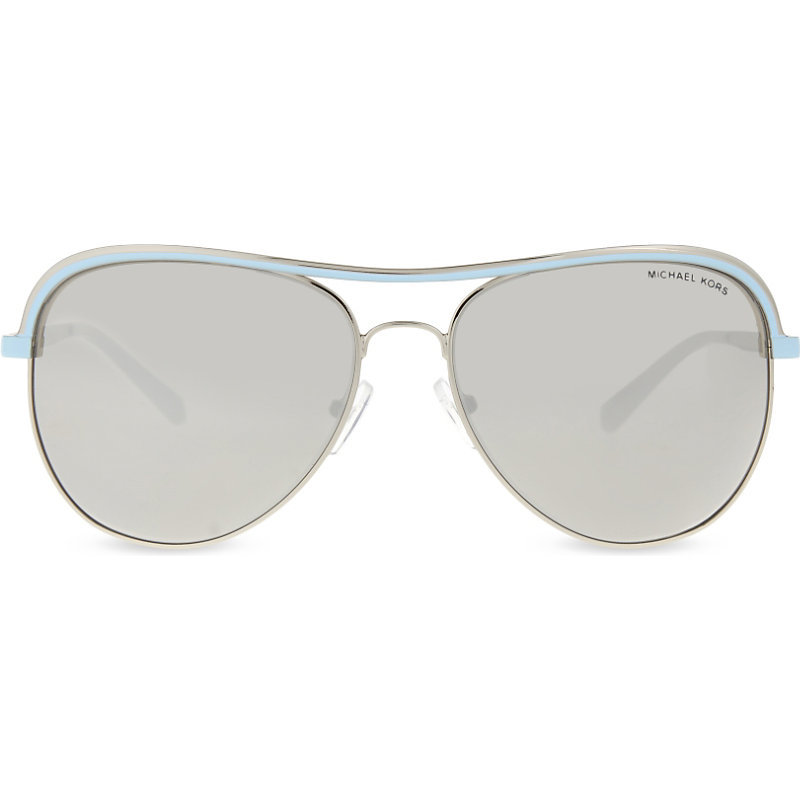 Mk1012 Vivianna I Aviator Sunglasses, Women's, Silver - predominant colour: silver; occasions: casual, holiday; style: aviator; size: standard; material: chain/metal; pattern: plain; finish: plain; wardrobe: basic; season: a/w 2016