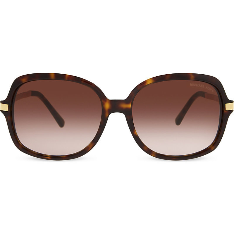 Mk2024 Adrianna Ii Round Frame Sunglasses, Women's, Green - predominant colour: chocolate brown; occasions: casual, holiday; style: square; size: large; material: plastic/rubber; pattern: tortoiseshell; finish: plain; wardrobe: basic; season: a/w 2016