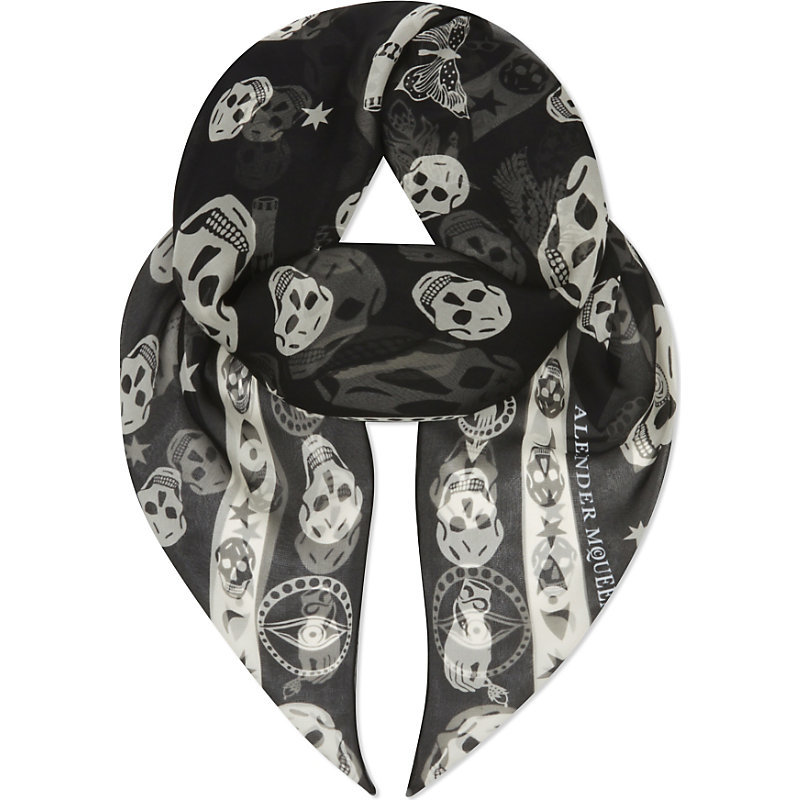 Surreal Charms Silk Scarf, Women's, Black Ivory - secondary colour: ivory/cream; predominant colour: black; occasions: casual; type of pattern: heavy; style: regular; size: standard; material: silk; pattern: patterned/print; season: a/w 2016; wardrobe: highlight