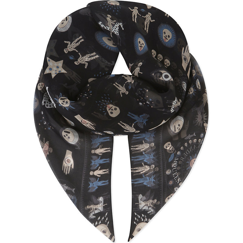 Space Print Chiffon Silk Scarf, Women's, Black Ivory - secondary colour: ivory/cream; predominant colour: black; occasions: casual; type of pattern: heavy; style: square; size: standard; material: silk; pattern: patterned/print; season: a/w 2016; wardrobe: highlight