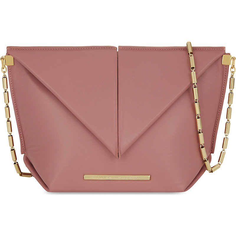 Classico Origami Lambskin Cross Body Bag, Women's, Old Pink - occasions: casual, creative work; type of pattern: standard; style: shoulder; length: across body/long; size: standard; material: faux leather; pattern: plain; finish: plain; embellishment: chain/metal; predominant colour: dusky pink; season: a/w 2016; wardrobe: highlight