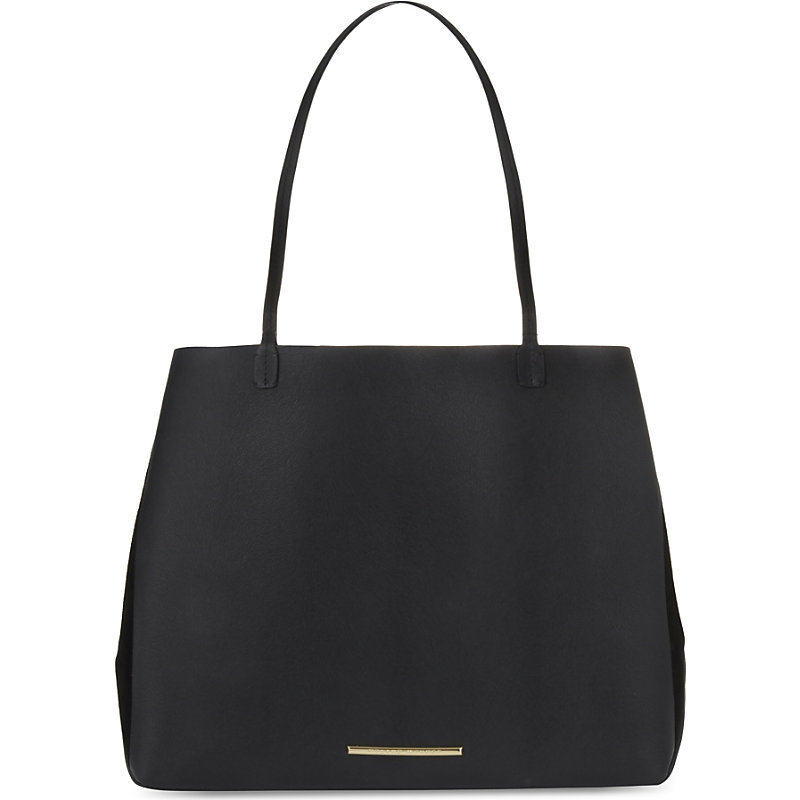 Odeon Leather And Suede Tote, Women's, Black - predominant colour: black; occasions: casual, work, creative work; type of pattern: standard; style: tote; length: handle; size: oversized; material: leather; pattern: plain; finish: plain; season: a/w 2016