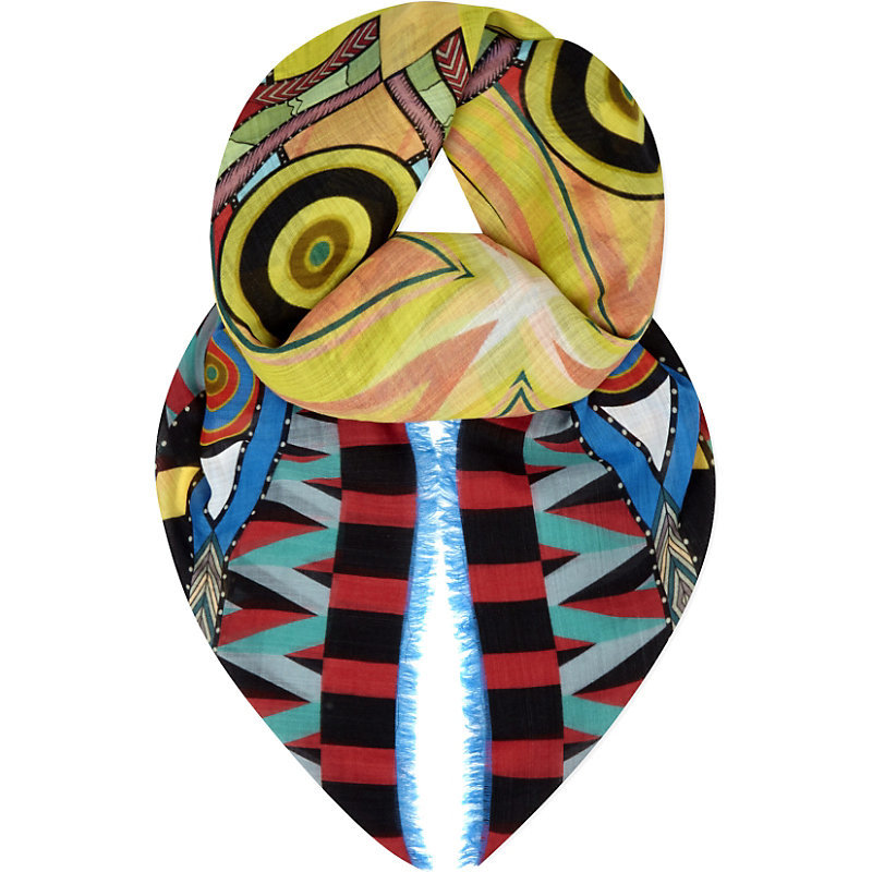 Egyptian Wool Scarf, Women's, Original - predominant colour: yellow; occasions: casual; type of pattern: heavy; style: square; size: standard; material: fabric; pattern: patterned/print; multicoloured: multicoloured; season: a/w 2016; wardrobe: highlight
