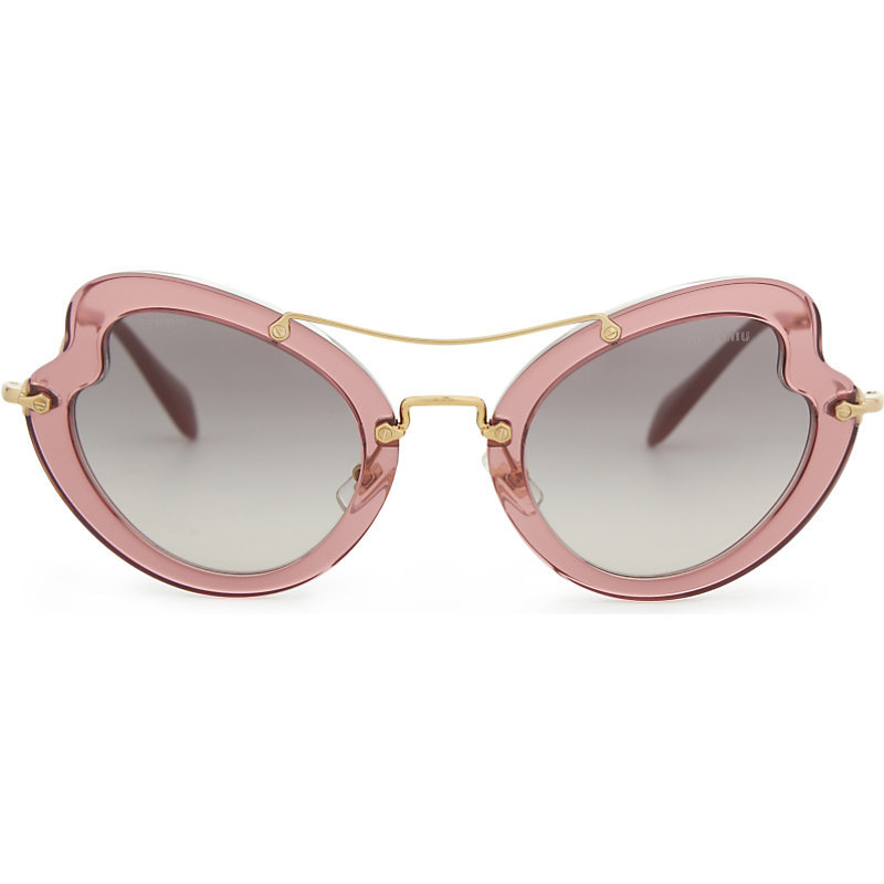 Mu11 Rs Irregular Butterfly Frame Sunglasses, Women's, Red - predominant colour: blush; occasions: casual, holiday; style: cateye; size: standard; material: plastic/rubber; pattern: plain; finish: plain; season: a/w 2016