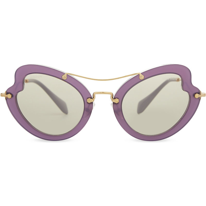 Mu11 Rs Irregular Butterfly Frame Sunglasses, Women's, Purple - predominant colour: purple; occasions: casual, holiday; style: cateye; size: standard; material: plastic/rubber; pattern: plain; finish: plain; season: a/w 2016; wardrobe: highlight