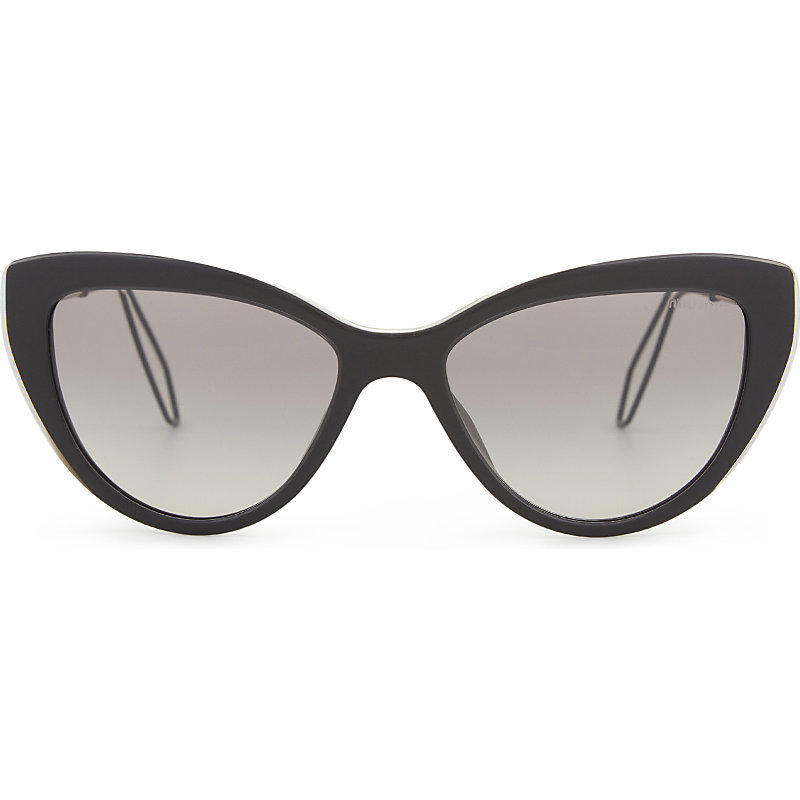 Mu12 Rs Double Arm Cat Eye Frame Sunglasses, Women's, Black - predominant colour: black; occasions: casual, holiday; style: cateye; size: standard; material: plastic/rubber; pattern: plain; finish: plain; season: a/w 2016