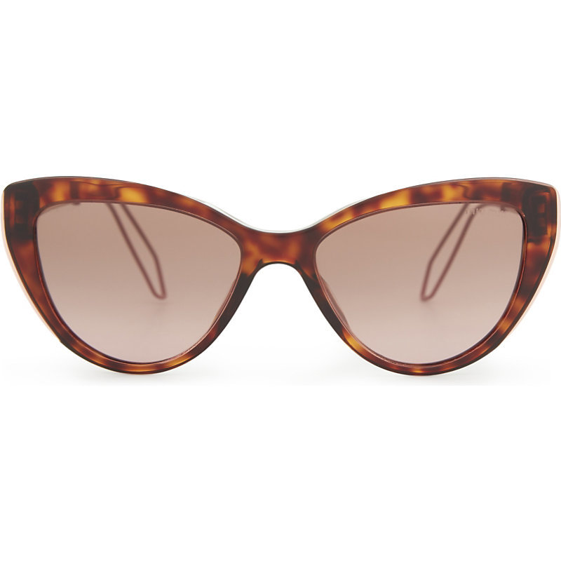 Mu12 Rs Double Arm Cat Eye Frame Sunglasses, Women's, Havana - predominant colour: tan; occasions: casual, holiday; style: cateye; size: standard; material: plastic/rubber; pattern: tortoiseshell; finish: plain; season: a/w 2016; wardrobe: highlight