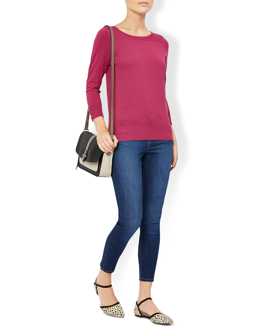 Marianne Smart Jumper - neckline: round neck; pattern: plain; style: standard; predominant colour: hot pink; occasions: casual, work, creative work; length: standard; fibres: cotton - mix; fit: standard fit; sleeve length: 3/4 length; sleeve style: standard; texture group: knits/crochet; pattern type: knitted - fine stitch; season: a/w 2016; wardrobe: highlight