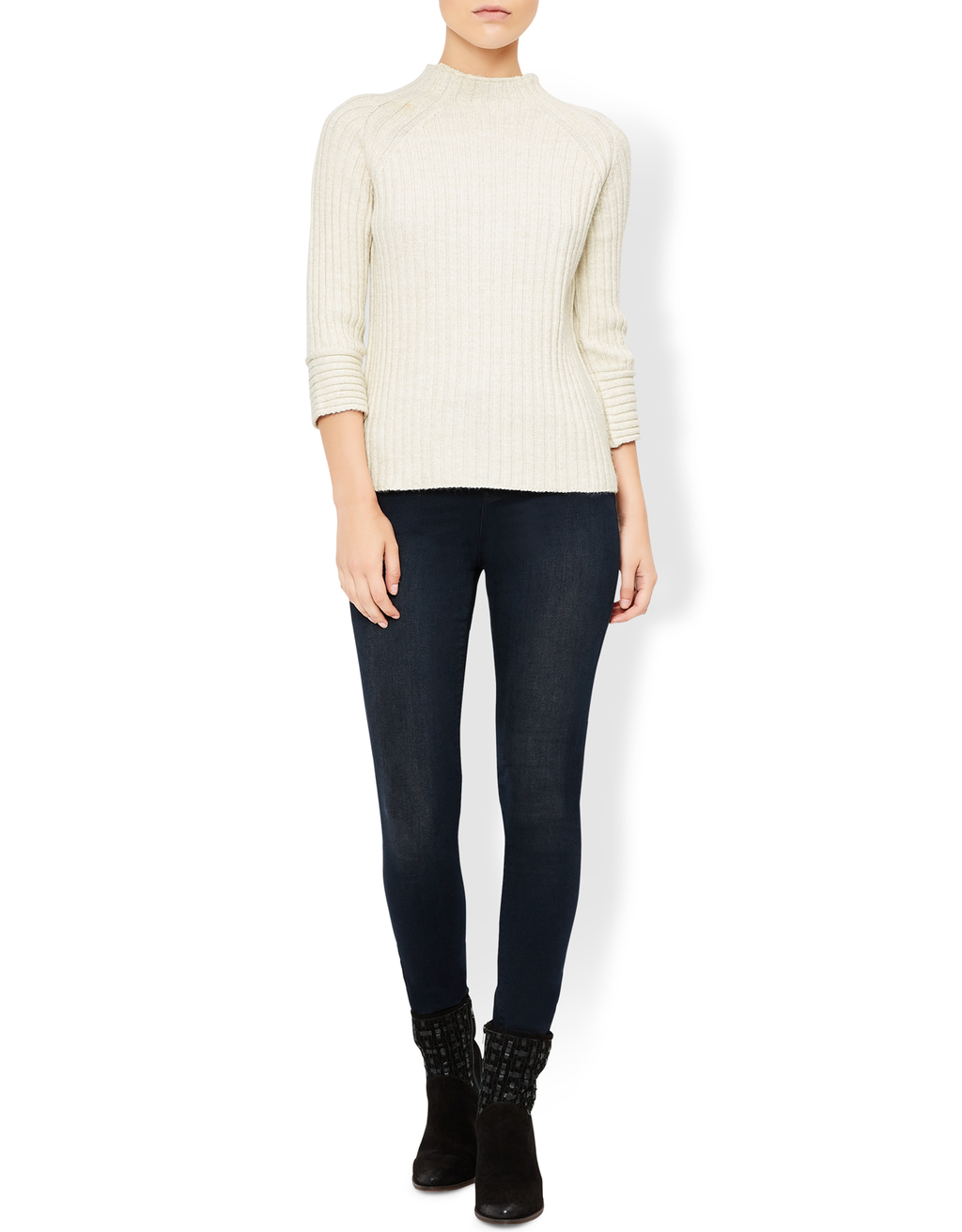 Hilary High Neck Ribbed Jumper - pattern: plain; neckline: high neck; style: standard; predominant colour: ivory/cream; occasions: casual; length: standard; fibres: acrylic - mix; fit: slim fit; sleeve length: 3/4 length; sleeve style: standard; texture group: knits/crochet; pattern type: knitted - fine stitch; wardrobe: basic; season: a/w 2016
