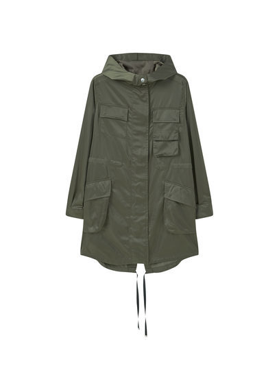 Pocket Parka - pattern: plain; collar: funnel; fit: loose; style: parka; length: mid thigh; predominant colour: khaki; occasions: casual; fibres: cotton - 100%; sleeve length: long sleeve; sleeve style: standard; texture group: cotton feel fabrics; collar break: high; pattern type: fabric; wardrobe: basic; season: a/w 2016