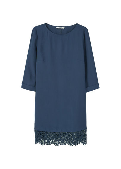 Guipure Appliqué Dress - style: shift; length: mid thigh; neckline: round neck; pattern: plain; predominant colour: navy; occasions: evening; fit: straight cut; fibres: polyester/polyamide - 100%; sleeve length: 3/4 length; sleeve style: standard; texture group: crepes; pattern type: fabric; embellishment: lace; season: a/w 2016; wardrobe: event; embellishment location: hip