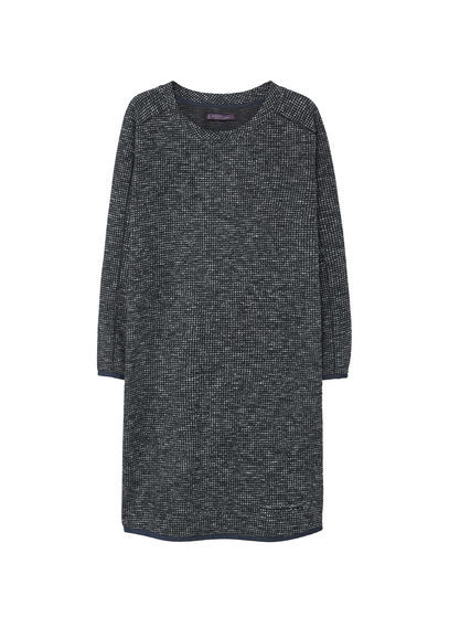 Textured Shift Dress - style: shift; neckline: round neck; fit: loose; pattern: plain; predominant colour: black; occasions: casual, creative work; length: just above the knee; fibres: cotton - mix; sleeve length: long sleeve; sleeve style: standard; pattern type: fabric; texture group: woven light midweight; wardrobe: basic; season: a/w 2016